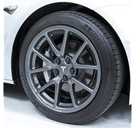 Nrpfell 4Pcs for Tesla Model 3 ABS Bright Black Hub Caps Wheel Center Caps Cover Dustproof Wheel Decorative Trim Auto Exterior Accessories