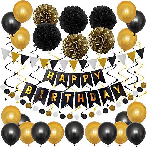 TOPWINRR Deko Geburtstag Mädchen Junge Luftballons Kindergeburtstag Dekoration Set Geburtstagsdeko Happy Birthday Girlande, Schwarz Gold