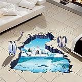 SLGJYY Pinguine 3D Tapeten Vinyl Material Abnehmbare Gletscher Trail Wand Boden Aufkleber Für Kinderzimmer Waschraum Dekoration Tapeten