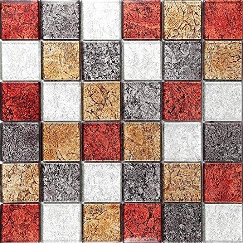 Glas-mosaik-fliese (Glas Mosaik Fliesen Matte in Rot, Bronze, Silber und Schwarz/Violett MT0072)