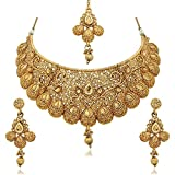#9: Zeneme Wedding Collection Gold Plated Choker Necklace, Drop Earring & Mangtika for Women/girls