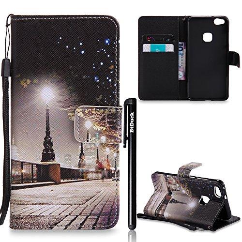 BtDuck Huawei P10 Lite Hülle, Ultra Slim PU Leder Buntes Muster Handyhülle Magnet Tasche mit Stand Funktion Schutzhülle für Huawei P10 Lite Handytasche im Kartenfächer Geldbeutel Entwurf Case Cover -