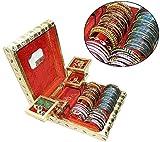 #10: Rajwadi traditional handmade wooden Meenakari & velvet jewellery box / jewellery organizer / jewellery holder / Jewelary Vanity box with mirror for Wedding / party and Gift (12x10x3.5 inch)