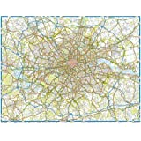 Greater London including M25 Main Road Poster Map: Laminated Gloss finish (117 x 92cm)