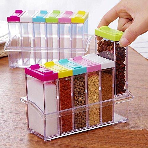 Moradiya Fresh Kitchen Seasoning Bottles, Lid Colorful Seasoning Box 6 Pieces Set Transparent Plastic Spice Jar, Spices Pepper Shakers, Salt Sugar Cruet