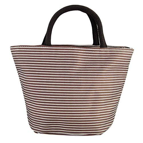 TININNA Retro tela rigata Lunch Bag Tote Lunch Box contenitore del pranzo bagagli picnic Pouch Bag Caffè Caffè