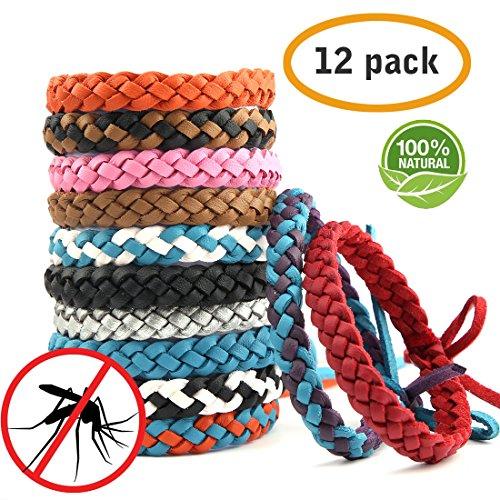 ARINO Moskito Armband Mückenschutz Armband Anti Mücken Armband Mosquito Repellent Bracelet 12 Stücke Leder Insektenschutz-Armband für Kinder Erwachsene Indoor Outdoor