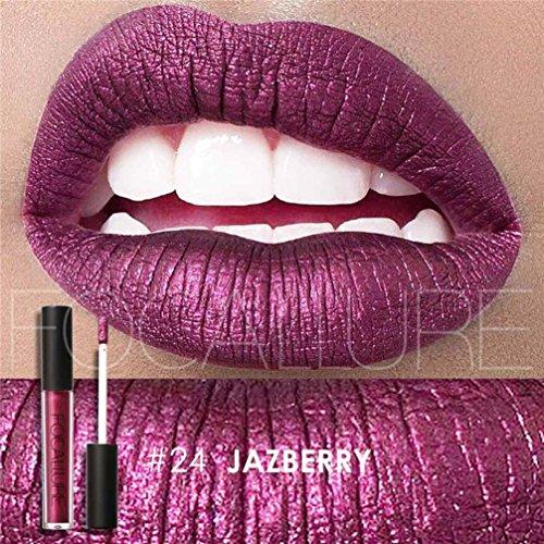 Femmes Gloss à lèvres, Moonuy Les femmes sexy nouvelle mode métallisé hydratant rouge à lèvres Lustre à lèvres longue durée Maquillage cosmétiques (B)