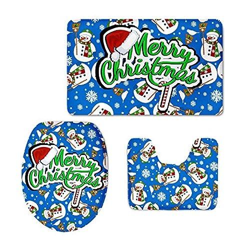 coloranimal Weihnachten Style 3-teiliges Badezimmer Teppich Set Badematte/Contour Vorleger/WC-Deckelbezug Modern Christmas Design-5