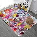 home carpet Art Series Großen Teppich Wohnzimmer Schlafzimmer Erker Casual Hause Decke Mat, Neonstadt, 100X150cm