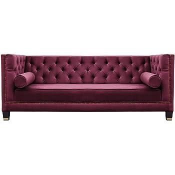 Belle Fierté Burgundy Elegant 3 Seater Studded Velvet Chesterfield Sofa