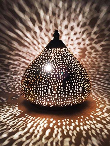 Gold-mosaik-tisch-lampe (Orientalische kleine Tischlampe Lampe Roya 23cm Silber   Marokkanische Tischlampen klein aus Metall, Lampenschirm silberfarben   Nachttischlampe modern, für Vintage, Retro & Landhaus Stil Design)