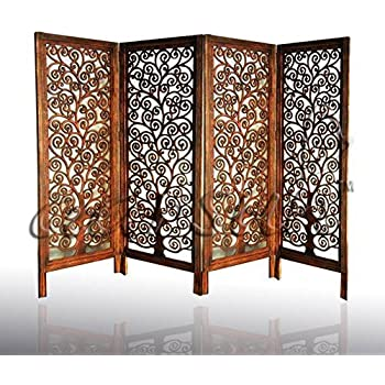 Ordinaire Aarsun Woods 4 Panel Mango Wood Partition Room Divider And Screen  4 Ft