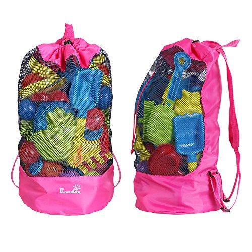 Strandspielzeug Tasche Strandtasche Mesh Beach Bag EocuSun für Sandspielzeug Wasserspielzeug Rücksack Beutel für kleinkind Kinder Jungen Mädchen Badetasche XXL groß für Familie Urlaub (Lila)