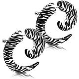 tumundo 1 Paio Spirale Finto Plug Fake Taper Fakeplugs Orecchini Piercing 6mm Acrilico Orecchinor Animalprint Stella