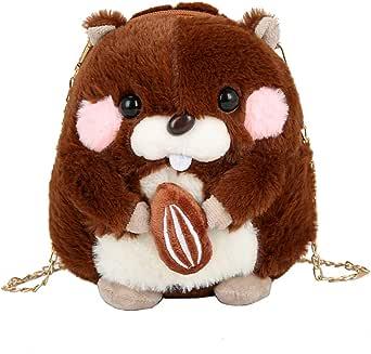 VooDirop Umhängetasche Nette Hamster Doll Plüsch Damen CrossBody Shoulder Mini Bag Winter Kunstpelz Schultertasche Handtasche Kettenriemen Niedliche Reisetaschen Sling Rucksäcke