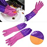 FreshDcart Rubber Hand Dish Washing Gloves Reusable Kitchen Cleaning Waterproof Gloves Large Size for Women Men