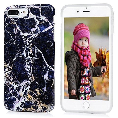 MAXFE.CO TPU Silikon Hülle für iPhone 7 Plus 5.5 Zoll Handyhülle Schale Etui Protective Case Cover Rück mit Schwarz Skin Terrazzo Marmor Design Blaues Gold