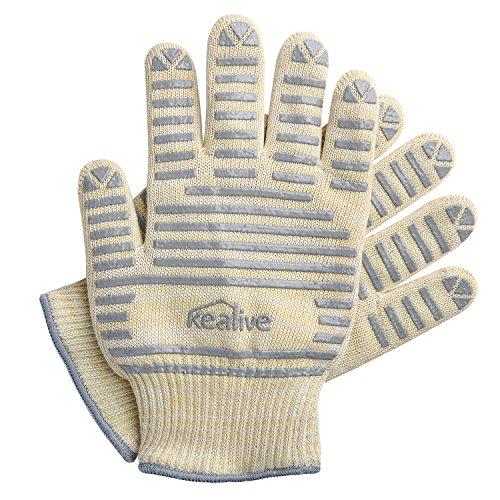 Hitzebeständige Handschuhe, Kealive Schutz bis 572 °F Silikonhandschuhe zum Kochen, Grillen, BBQ, Küche, 1 Paar