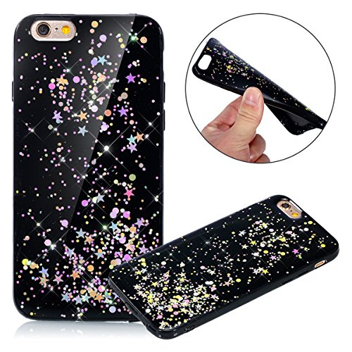 Custodia iPhone 6, Cover iPhone 6S Nero, Brillantini Cover Custodia in Silicone per iPhone 6 / 6S Apple, Surakey Belle Elegante Custodia con Glitter Sottile e Morbida TPU Gomma Case Colorate Bling Ste Stella Colore Nero