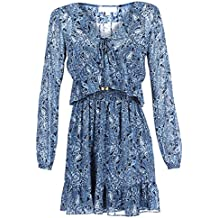 6bd7f12b694e Michael MICHAEL KORS RFL Smocked Mini DRS Kleider Damen Blau Kurze Kleider