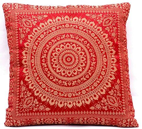 Maroon Farbe Indische Deko Banarasi Seide Kissenbezüge 40 cm x 40 cm, Extravaganten Design für Sofa & Bett Dekokissen, Kissenhülle aus Indien. Angebot gültig solange der Vorrat reicht - Maroon Baumwolle Farbe