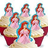 12 x Vorgeschnittene und Essbare Disney Princess Arielle Kuchen Topper (Tortenaufleger, Bedruckte Oblaten, Oblatenaufleger)