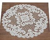 Tischwäsche Spitzendecke Creme 28 cm Ø rund 100% Baumwolle Wickeldecke Plauener Spitze