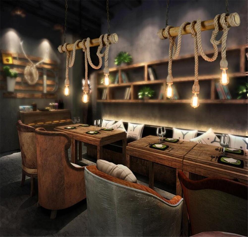 Atmko®Hängeleuchte Kronleuchter Hanf Seile Kronleuchter Anhänger Industrial  Vintage Style Schlafzimmer Wohnzimmer Cafe LOFT Bamboo Deckenleuchten No ...