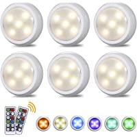 Tomshine Under Cabinet Kitchen Lights Battery Operated & USB Charging Dimmable LED Touch Light with Remote Control and 3/6/12H Timing Setting, 6 Pack(RGBW)