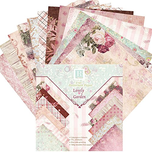 24 Blatt Scrapbooking Papier Designpapier Bastelpapier Dekorpapier für DIY Handwerk Foto Hintergrund Deko 6x6 Zoll (B)