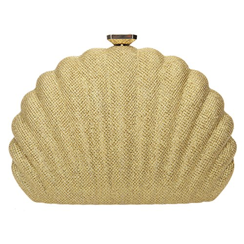 Bonjanvye Shell Shape Evening Clutches for Wedding and Party Bag for Women Brown gold