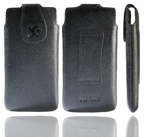 Suncase Original Tasche für Emporia PURE Leder Etui Handytasche Ledertasche Schutzhülle Case Hülle in vollnarbig-schwarz