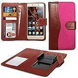 N4U ONLINE - Verschiedene Farben Clip Dual Faser Buch Schutzhülle Hülle für Oppo N1 Mini - Rosa