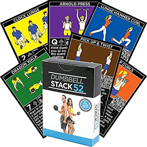 Dumbbell-Übung Karten von Strength 52. Dumbbell-Trainings-Spielkarten-Spiel. Video-Anweisungen enthalten. Vervollkommnen Sie für Training mit justierbaren Hantel-freien Gewicht-Sätzen und Hauptgymnastik-Eignung.