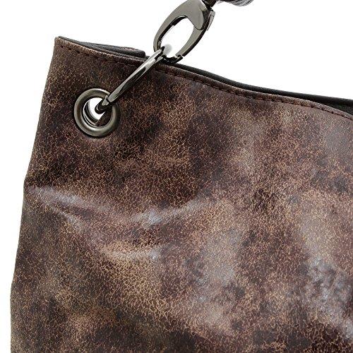 Jennifer Jones 3441 Handtasche Damen Damentasche Henkeltasche Schultertasche Tasche Braun