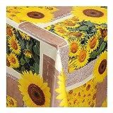 Wachstuch Tischdecke Wachstischdecke Gartentischdecke, Abwaschbar Meterware, Länge wählbar, Sonnenblumen Creme Braun (045-00) 800cm x 140cm
