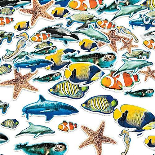 Elfen und Zwerge 50 x Sticker Aufkleber Fische Meerestiere Moosgummi Unterwasserwelt Ozean Hai Wal Orca Basteln