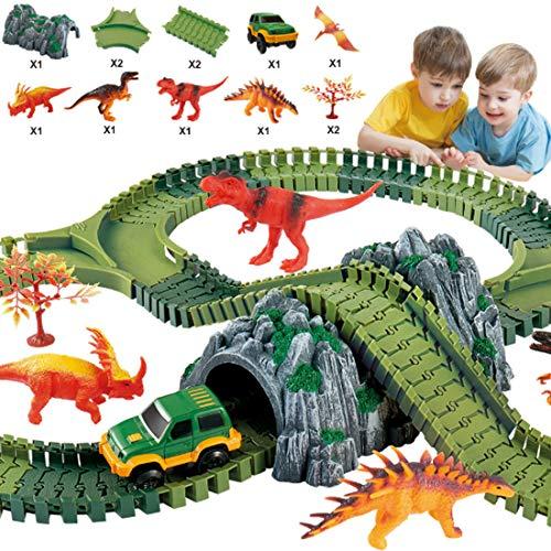 Haunen Auto Rennstrecken-Sets Dinosaurier Spielzeug, mit 144 Stück Flexible Strecken, 5 Dinosaurier, 1 Militärfahrzeuge, 2 Bäume, 1 Steingarten, 2 Verzweigte Orbitalschnittstelle, 2 Pisten - Spielzeug-rennstrecke