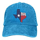 Denim Baseball Cap I Love Texas Texan Flag Men Women Snapback Caps Polo Style Low Profile