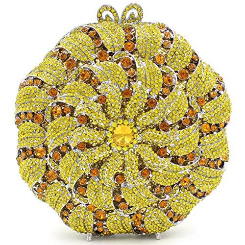 Santimon Donna Pochette Borsa Lusso Diamante Cristallo A Forma di Ventaglio Bloscco Bacio Borsellini Borsetta Con Tracolla Amovibile e Pacco Regalo 7 Colori arancione