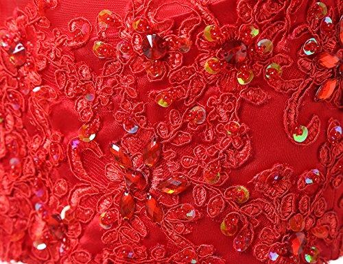Dresstells Robe courte de soirée de cocktail Robe de bal emperlée en tulle deux pièces Rose