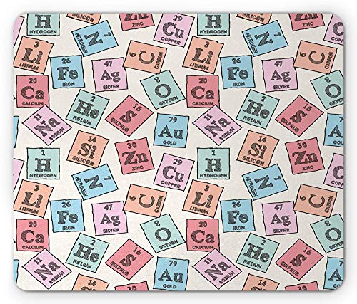 WYICPLO Periodic Table Mouse Pad, Sketch Style Chemistry Class Elements Science Camp Art Print, Standard Size Rectangle Non-Slip Rubber Mousepad, Pale Pink Blue and Green