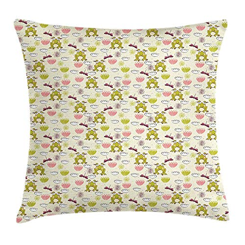 BUZRL Frogs Throw Pillow Cushion Cover, Cartoon Style Animal Pattern Newborn Baby Girls Lilies Dragonflies Pastel Tones, Decorative Square Accent Pillow Case, 18 X 18 inches, Multicolor