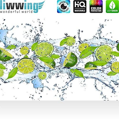 Vlies Fototapete 350×245 cm PREMIUM PLUS Wand Foto Tapete Wand Bild Vliestapete – Kulinarisches Tapete Limetten Wasser Blätter Tropfen Obst Frucht grün – no. 864 - 2