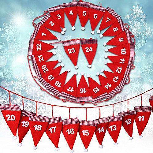 Jago Kalender Filz-Adventskalender 24Beutel mit Santa Hat