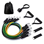 Resistance Bands,5 Stackable Exercise Bands Workout Bands with Door Anchor,Handles,Ankle Straps,Exercise Chart and Carry...