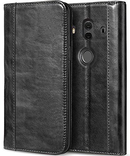 Huawei Mate 10 Pro Echtes Lederetui, ProCase Vintage Brieftasche Klapp Flip Case mit Ständer und Multiple Card Slots Magnetverschluss Schutzhülle für Mate 10 Pro 6.0