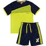 ALPHADVENTURE Go&Win Conjunto Deportivo Manga Corta Amarillo Fluor y Navy Aberdeen Jr Para Niño