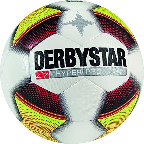 Derbystar Fußball Hyper Pro S-light, Kinder Trainingsball, Ball Größe 3 (290 g), weiß gelb rot, 1022